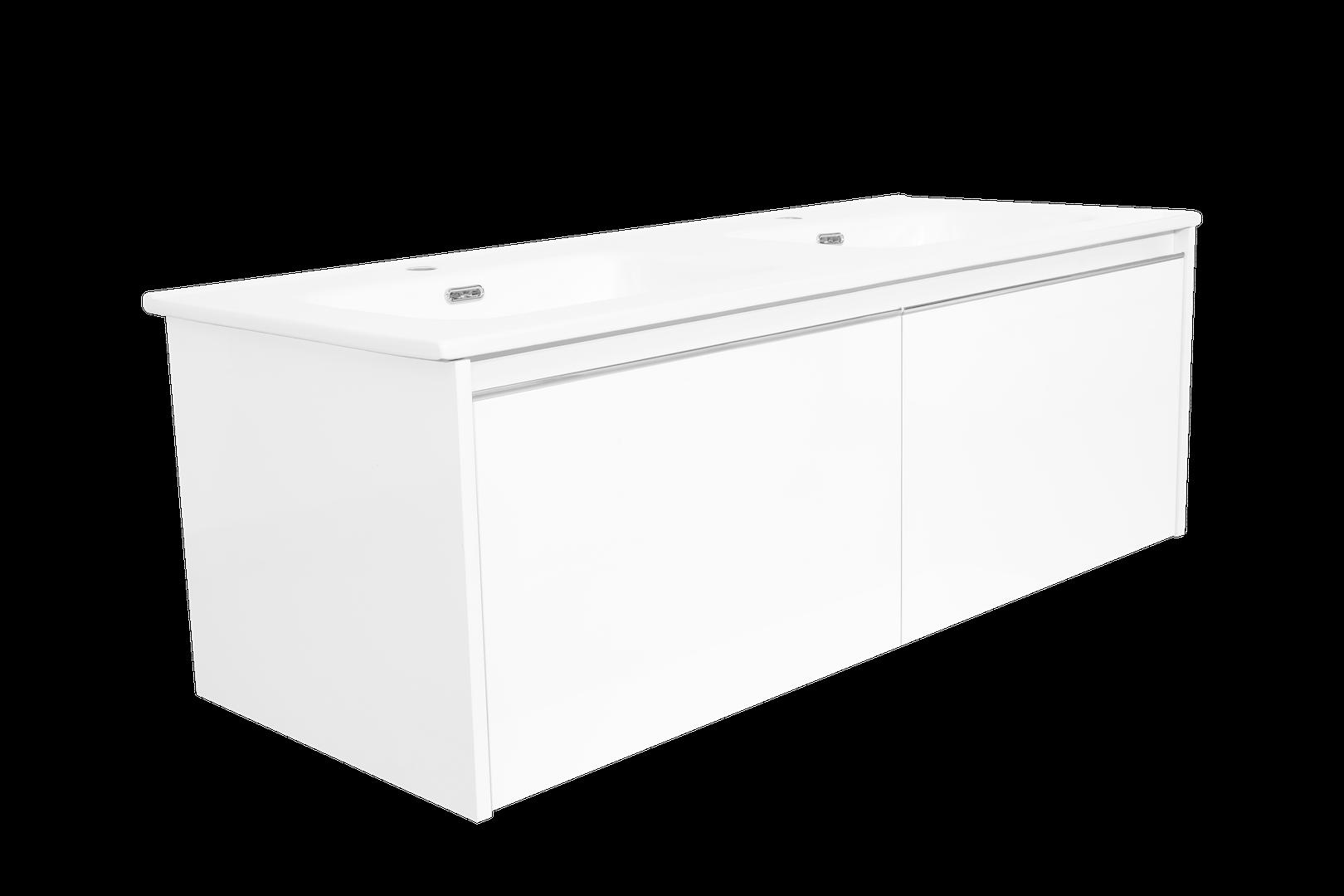 Charm skrinka s dvojumývadlom biela lesklá
